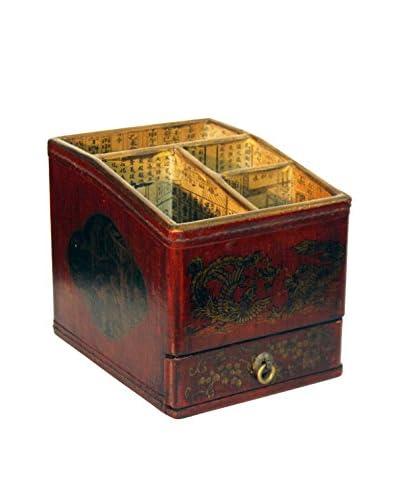 Asian Loft Leather Chinoiserie Storage Organization Box, Red/Gold