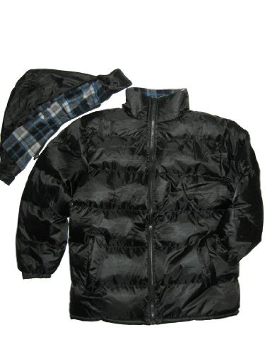 (5067) mens hooded puffa jacket winter coat black blue (L, Black)