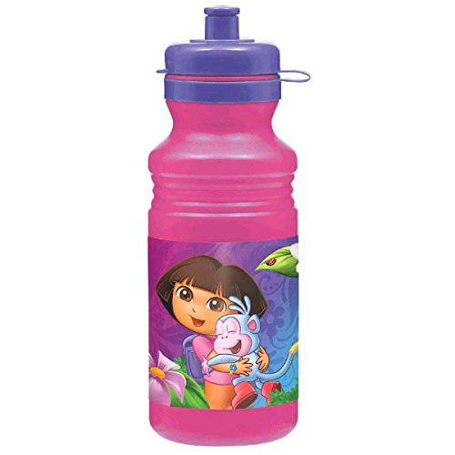 Amscan Colorful Dora's Flower Adventure Party Plastic Drink Bottle (1 Piece), Pink/Purple, 18 oz - 1