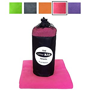 LARGE MICROFIBRE TOWEL - Hot PINK - 150cm x 80cm - The perfectly sized LITTLE BIG Towel by Luxelu - Highest quality, super soft, fast drying towel in a cool stuff sack carry pack. For Travel, Swimming, Gym, Sports, Camping, Beach, Yoga, Golf etc... (pink)