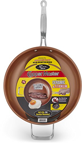 Ceramic & Titanium Non-Stick Frying Pan - 12 inch Dishwasher & Oven Safe Non-Scratch Cookware With Induction Plate - By Copper Master (Scratch Resistant Frying Pan compare prices)