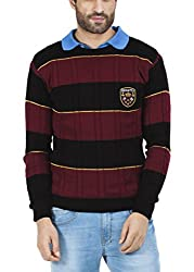 Zovi Acrylic Crimson Red, Brown And Sunset Yellow Striped Pullover - Full Sleeves (10409595101_Small)