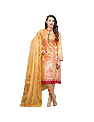 Orange And Yellow Lush Cotton Satin Fabric Party Wear Designer Salwar Suit Semi Stitched Dress Material