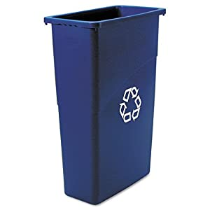 Rubbermaid Commercial Slim Jim Recycling Container, Rectangular, Plastic, 23 Gallons, Blue (354075BE)