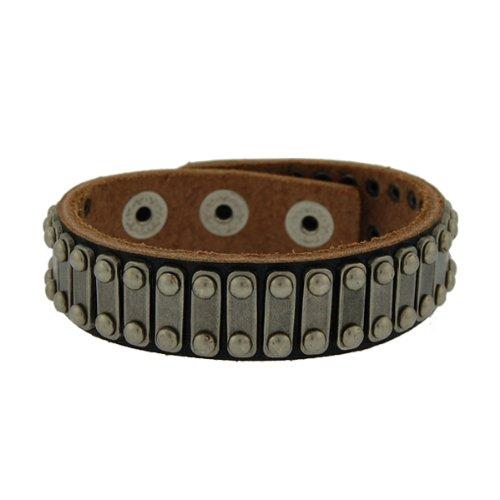 Genuine Leather Path Black Vintage Biker Bracelet