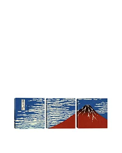 Katsushika Hokusai Mount Fuji In Clear Weather (Red Fuji) (Panoramic) 3-Piece Canvas Print