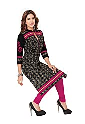 CHINTAN TEXTILES Ethnicwear Women's Kurti Fabric(Black_Free Size)