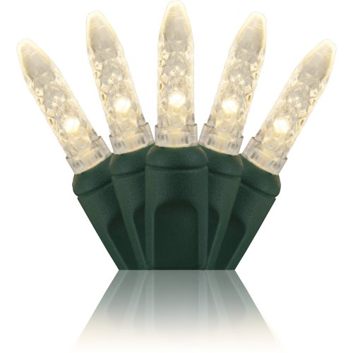 """Holiday Lighting Outlet M6 Led Christmas Mini Lights, Mini Ice, M5, Warm White, Green Cord, 70Lt 4"""" Spacing, 23.7'"""