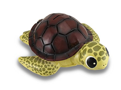 Baby Brown Shell Sea Turtle Coin Bank Statue Childrens Piggy Bank - 1