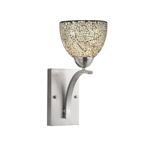 Woodbridge Lighting 13051STN-M21WHT 6-Inch by 13-3/4-Inch by 8-Inch North Bay 1-Light Wall/Bath Sconce, Satin Nickel