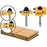 Yonico 15221q Tongue and Groove Router Bit Set with 3/4-Inch Stock 1/4-Inch Shank