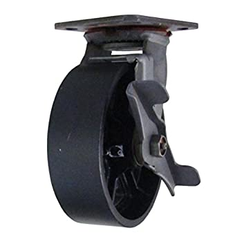 "6"" CC Vintage Swivel Caster with Wheel Brake - Plate Mount - Black Cast Iron Wheel"