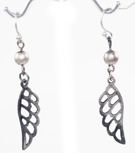 Beautiful Unique Angel Wing Cutout Charm Dangle Earrings Antique Silver Tone