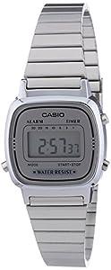 Casio - Vintage - LA670WEA-7EF - Montre Femme - Quartz Digital - Cadran Gris - Bracelet Acier Argent