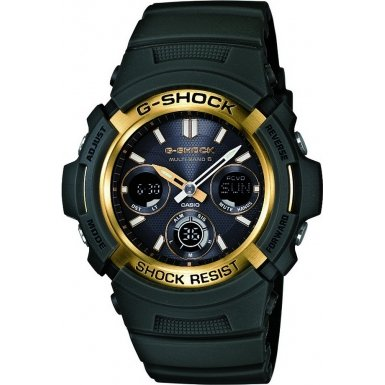 Casio G-Shock Men's Quartz Watch with Black Dial Analogue - Digital Display and Green Resin Strap AWG-M100A-3AER