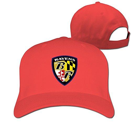 YUVIA Unisex Baseball-caps Cricket Cap Baltimore Ravens Hat Caps Red
