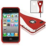 Mobilizers: Dual Matt Finish Hybrid Case For iPhone 4 / 4S With Free Screen Protector - White / Red