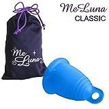 Meluna Classic Menstrual Cup with Ring Handle (medium, blue)