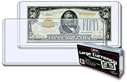 (100) Clear US Currency Topload Holder Protector for Large Older Bills By BCW