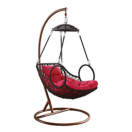 Rattan Chair Hanging Basket Wicker Chair Indoor Swing Rocking Chair Balcony Bird nest Lazy Chair Hammock Cradle Chair Adult -H 70x105x200cm(28x41x79)