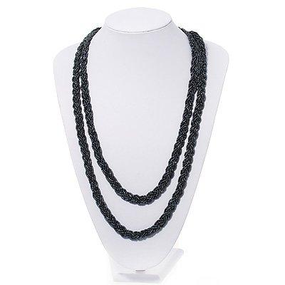 Long Peacock Black Glass Bead Necklace - 150cm Length