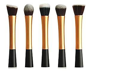 LyDia® UK STOCK Professional 5pcs ROSE GOLD flat top foundation/angled blusher/face powder/stippling/face contour makeup brush set