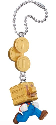 New Super Mario Bros. 2 Mascot Key Chain Figure Tomy - Gold Block Mario