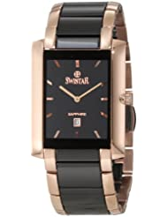 Swistar Men's 454-67M Swiss Quartz Scratch Resistant Ceramic and Stainless Steel Dress Watch