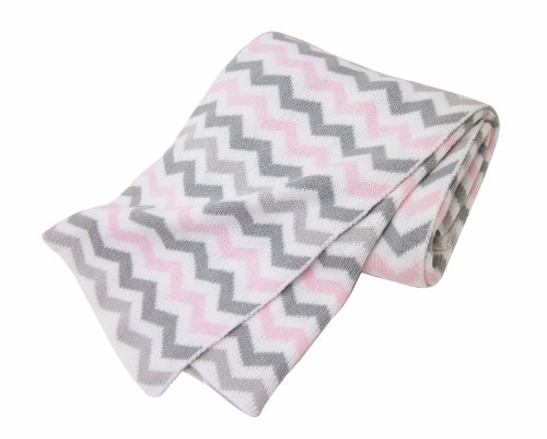 American Baby Company 100% Cotton Sweater Knit Blanket, Pink/Gray ZigZag