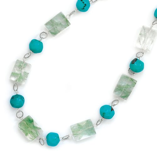 Sterling Silver 16 Inch+2 Inch Extention Green Quartz and Created Turquoise Necklace - JewelryWeb