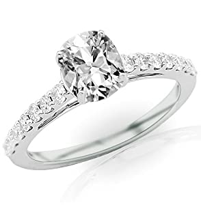 1 Carat Cushion Cut / Shape 14K White Gold Classic Graduating Pave Set Diamond Engagement Ring ( D-E Color , SI2 Clarity )