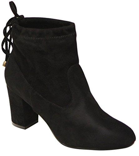 Natural Breeze Bonita-01 Women's block heel soft shaft tie back suede booties Black 10 (Natural Breeze compare prices)