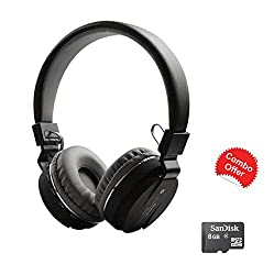 TECHWICH SH Bluetooth Black Headphone With FM and Calling with 8GB Sandisk Micro SD Memory Card FREE