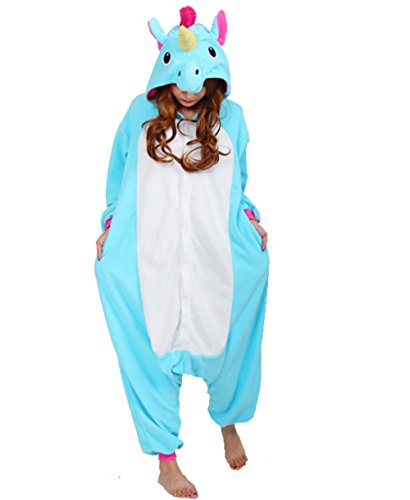 Adulte-Unisexe-Animal-Costume-Cosplay-Combinaison-Pyjama-Outfit-Nuit-Fleece-Halloween-New-Unicorn