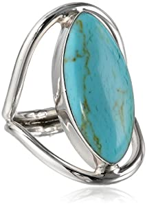 Sterling Silver Marquise-Shaped Reconstituted Turquoise Inlay Ring, Size 8