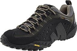 Merrell mens Merrell Mens Intercept Light Leather Breathable Walking Shoe Black Smooth Black Leather UK Size 8.5 (EU 43, US 9)