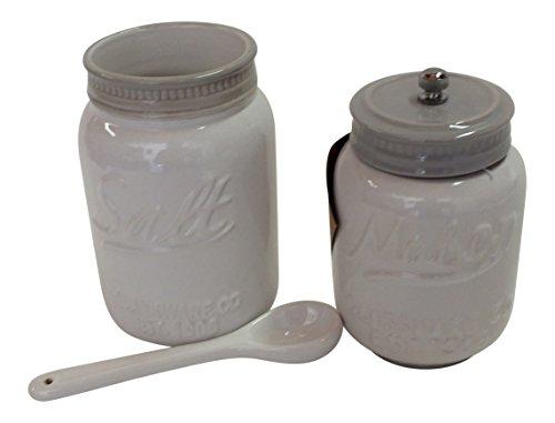 Mason Jar Ceramic White Pepper Mill & Salt Cellar With Spoon (The Cellar Mason Jar compare prices)