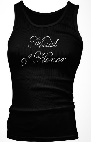 Maid Of Honor Rhinestone Girly Tank Top, Large, Black