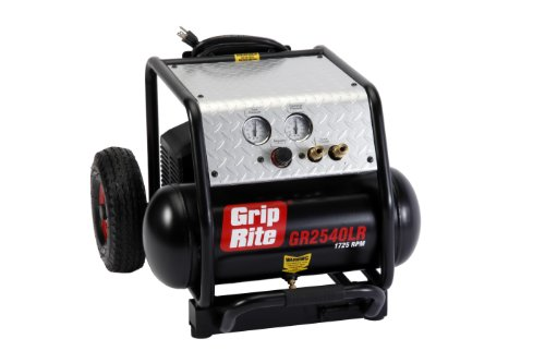Grip-Rite GR2540LR 2HP 4 Gallon 1725 RPM Compressor With Wheel Kit