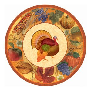 Fall Thanksgiving Scrapbook Large Banquet Plates Celebration Party Harvest 8 Pk - 1