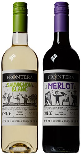 Frontera Merlot and Sauvignon Blanc in Wooden Gift Box 75 cl (Case of 2)