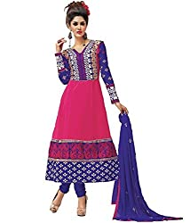 Arati Creation Women's Georgette Unstitched Dress Material (XYZ2_Pink Blue_Free Size)
