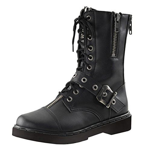 Mens Combat Boots Black Vegan Leather Shoes Lace Up Buckle Zipper 1 Inch Heel