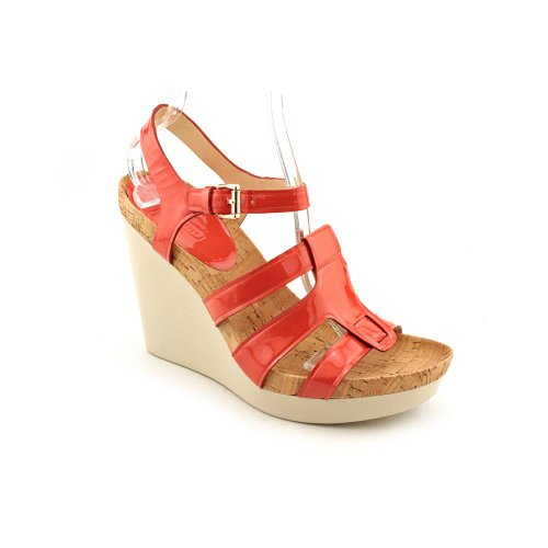Coach Leala Womens Size 8 Pink Open Toe Leather Wedge Sandals Shoes