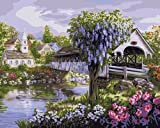 Plaid 21718 Paint By Number Kit, View of The Village, 16-Inch by 20-Inch