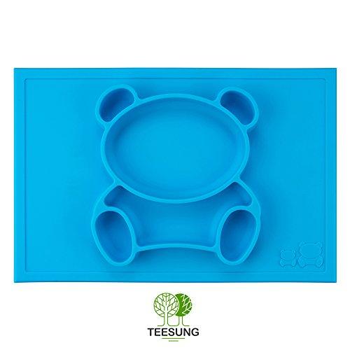 teesung Happy Bear-Tappetino in silicone Placemat +-Ciotola Vassoio e tovaglietta in silicone per neonati, bambini, neonati e bambini