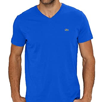 Lacoste Men's Short Sleeve V-Neck Pima Cotton T-Shirt Gitane-Small