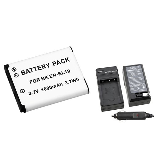 eForCity EN-EL19 Battery+Battery Charger+Car Charger Compatible with Nikon CoolPix S3100 Camera