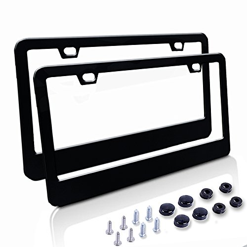 Car License Plate Frame - Matte Stainless Steel License Plate Covers with Screws Fasteners & Screw Caps (2 Pack-Black) (License Plate Frame Gun Metal compare prices)
