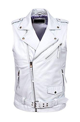 Mens-Brando-White-Motorcycle-Biker-Steam-Punk-Real-Nappa-Leather-Waistcoat-1025